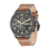 Timberland Men's Watch Brenton Analog Black Dial Brown Leather Band 46mm  Case