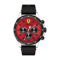 Scuderia Ferrari Men's Watch Pilota Analog Red Dial Black Leather Band 45mm Case