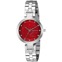 Giordano Women's Watch Analog Display Burgandy Dial Silver Stainless Steel Bracelet - 2784-11