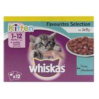 Whiskas Kitten Favourites Selection in Jelly Tuna Mackerel 85gx12