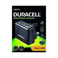 Duracell Dual Wall Charger 2.4A & 1A Black