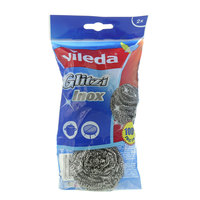 Vileda Inox Dish Washing Metallic Staineless Steel Spiral Scourer 2Pcs