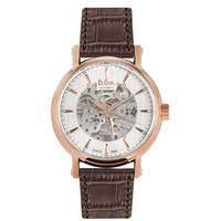 Lee Cooper Men's Automatic Rose Gold Case Brown Leather Strap White Dial -LC06369.499