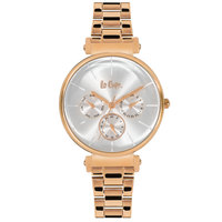 Lee Cooper Women's Multi-Function Rose Gold Case Rose Gold Super Metal Strap White Dial -LC06335.430