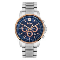 Lee Cooper Men's Multi-Function Silver Case Silver Super Metal Strap Blue Dial -LC06179.590