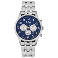 Lee Cooper Men's Multi-Function Silver Case Silver Super Metal Strap Blue Dial -LC06319.130