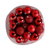 Christmas Red Ball 8 Cm 32 Pieces