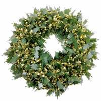 Wreath Tinsel Deco Green Leaves And Gold Loops 40Cm