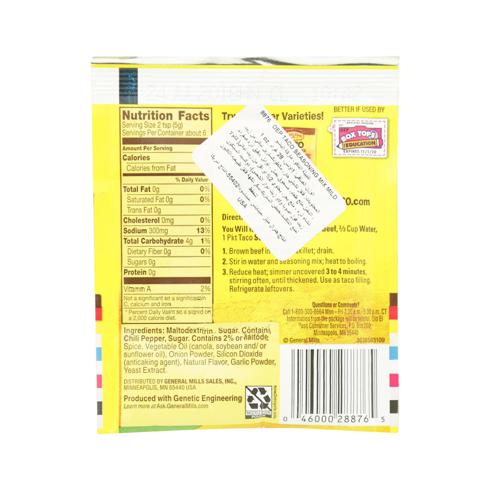 Buy Old El Paso Taco Seasoning Mix Mild 28g Online In Uae