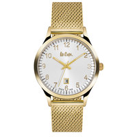 Lee Cooper Men's Analog Gold Case Gold Super Metal Strap White Dial -LC06297.130