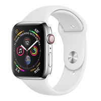 Apple Watch Series-4 GPS + Cellular 40mm Stainless Steel Case with White Sport Band (MTVJ2AE/A)