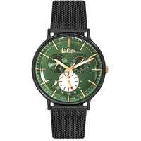Lee Cooper Men's Watch Multifunction Display Green Dial Black Pure Metal Bracelet - LC06380.670
