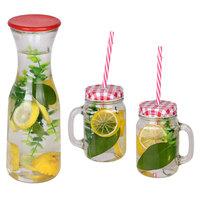 """""""Beverage Set  Glass Bottle 100Cl 1Pc +  Mason Jar 45Cl 2Pcs"""""""