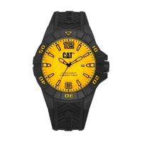 CAT Men's Watch Karbon Analog Yellow Dial Black Silicon Band 45.5mm  Case