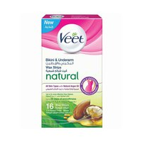Veet Pure Bikini & Under-Arm Wax Strips Argan Oil 16 Sheets