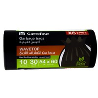 Carrefour Garbage Bags Black Wave Top X-Small 30 Bags