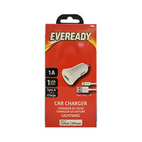 Eveready Car Charger + iPhone Light Cable 1A 1USB White