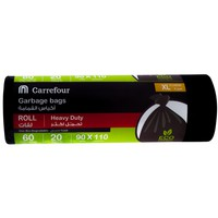 Carrefour Garbage Bags Black Roll X-Large 20 Bags