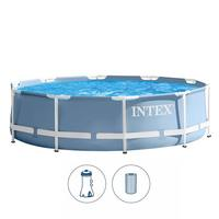 INTEX Prism Frame Round Pool With Filter Pump 3.05Mx76Cm Ages 6+