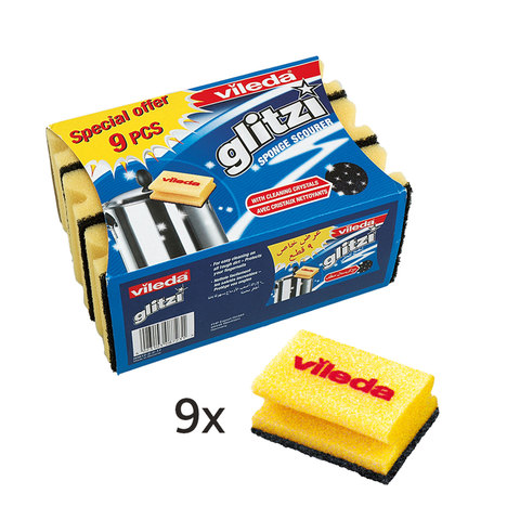 Vileda-Glitzi-Sponge-Scourer-Dish-Washing-High-Foam-9Pcs