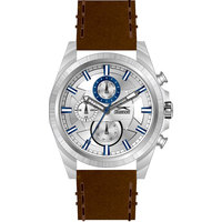 Slazenger Men's Multifunction Display Silver Dial Brown Leather Strap - SL.9.6029.2.03