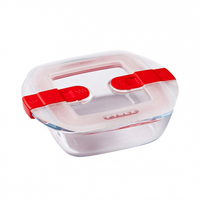 Pyrex Glass Square Dish With Vented Lid 0.35L