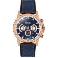 Lee Cooper Men's Multi-Function Rose Gold Case Blue Leather Strap Blue Dial -LC06313.270
