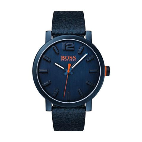 Hugo-Boss-Men's-Watch-BILBAO-Analog-Blue--Dial-Blue--Leather--Band-40mm--Case
