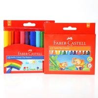 Faber-Castell Jumbo Color Marker10+Jmbo Wax Crayon 12