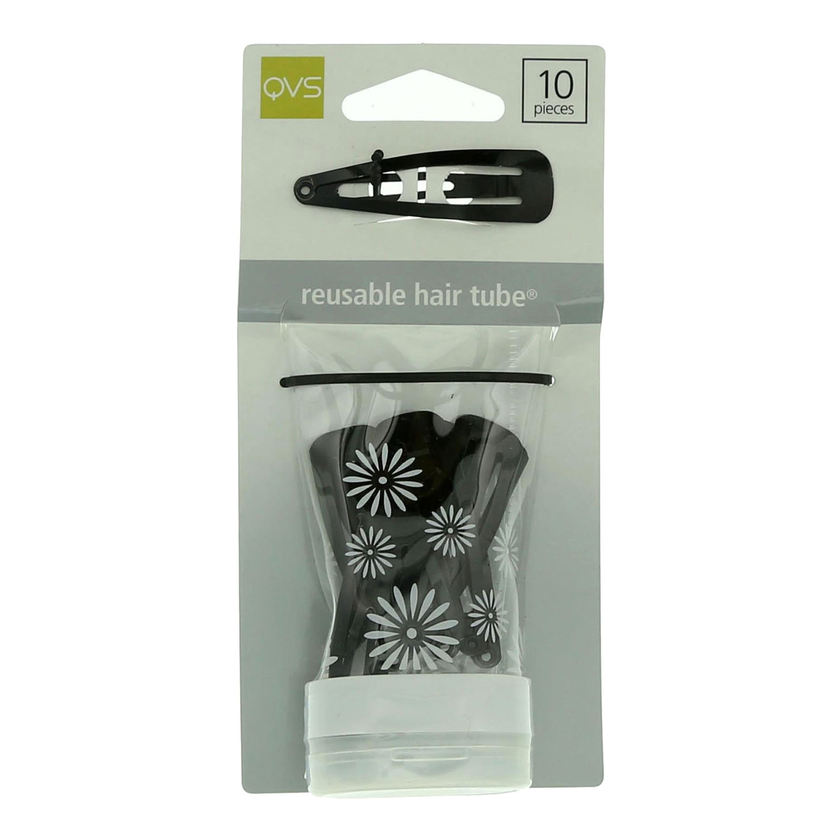 QVS ONE TOUCH HAIR CLIPS BLACK 10S