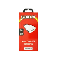 Eveready Universal Wall Charger 1.0 A 1USB Port White