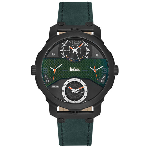 Lee-Cooper-Men's-Analog-Black-Case-Green-Leather-Strap-Green-Dial--LC06245.350