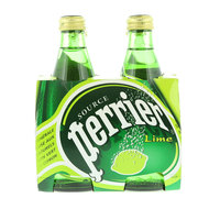 Perrier Natural Sparkling Mineral Water Lime Glass Bottle 4x330ml