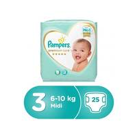 Pampers Premium Care Diapers, Size 3 Midi 6-10 Kg Mid Pack 25 Count