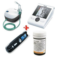 Beurer Nebulizer Ih18+Blood Pressure Monitor Bm28+ Gluco Monitor Gl50+Strips