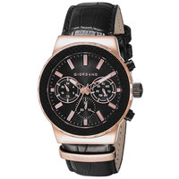 Giordano Men's Watch Multi Function Display Black Dial Black Intigrated Leather Strap - 1779-03
