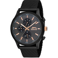 Slazenger Men's Multifunction Display Black Dial Black Stainless Steel Bracelet - SL.9.6005.2.03