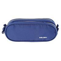 Delsey School 2018 2-Cpt Pencil Case Metalic Blue