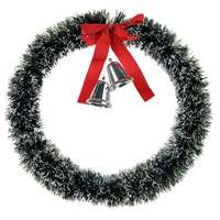 Wreath Tinsel Deco With 2 Bells And Red Bow 60Cm