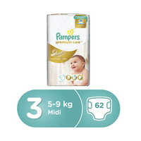 Pampers Diapers Premium Care Mega Pack Midi Size 3 62 Pieces -10% Off