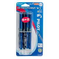 Pilot V7 Hi-Tec Pen 0.7 8Pcs