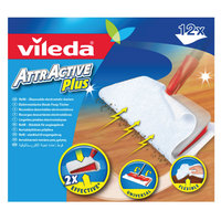 Vileda AttrActive Plus Dust Mop System Floor Cleaning Refill 12 pcs