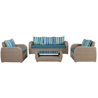 Farrah Wicker Coffee Set 4Pcs With  Cushions