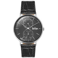 Lee Cooper Men's Analog Silver Case Black Leather Strap Black Dial -LC06381.361
