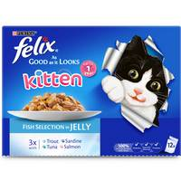 Purina Felix Kitten Wet Cat Single Serve As Good as it Looks, Up to 1 Year, Fish Selection 100g  (Pack of 12)