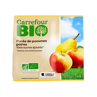 Carrefour Bio Organic Apple/Peach sauce No Added Sugar 100g x4