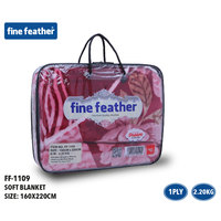 Fine Feather Soft Blanket 160X220 Pink 1 ply 2.2 Kg