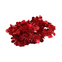 Christmas Tinsel Garland Dotted 7. 5 Cm Red
