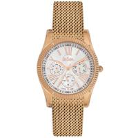 Lee Cooper Women's Multi-Function Rose Gold Case Rose Gold Super Metal Strap Silver Dial -LC06319.430