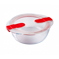 Pyrex Glass Round Dish With Vented Lid 1.1L